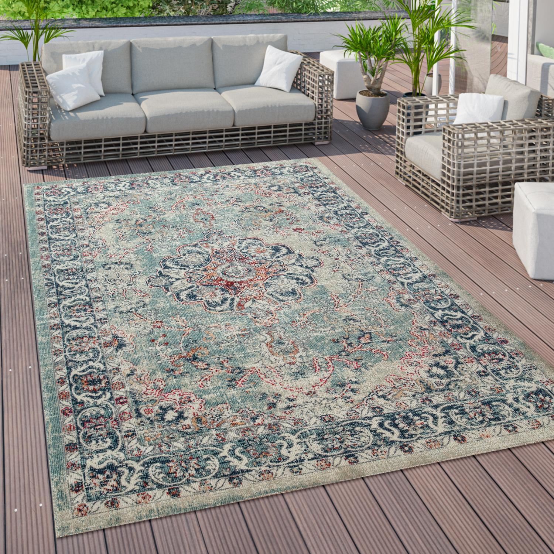 Outdoor Teppich Küchenteppich Balkon Terrasse Vintage Orient Muster Rot  Blau Beige, Grösse8x8 cm
