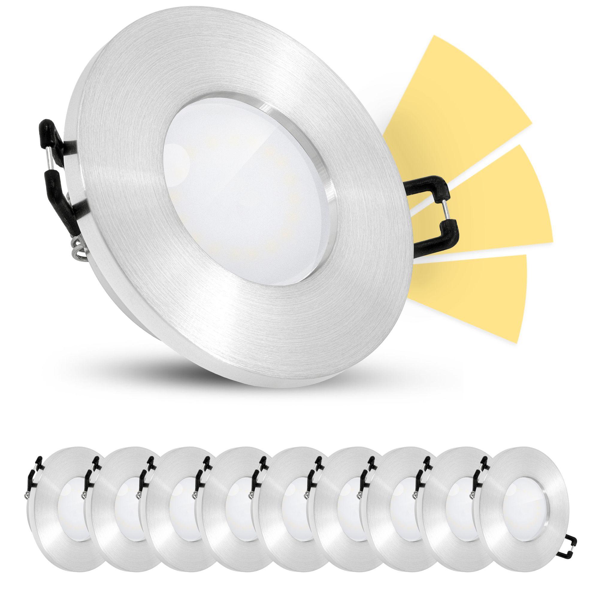 20er Set fourSTEP LED Einbauleuchten Bad IP20 warmweiß GU20 20W 20V    gebürstet rund
