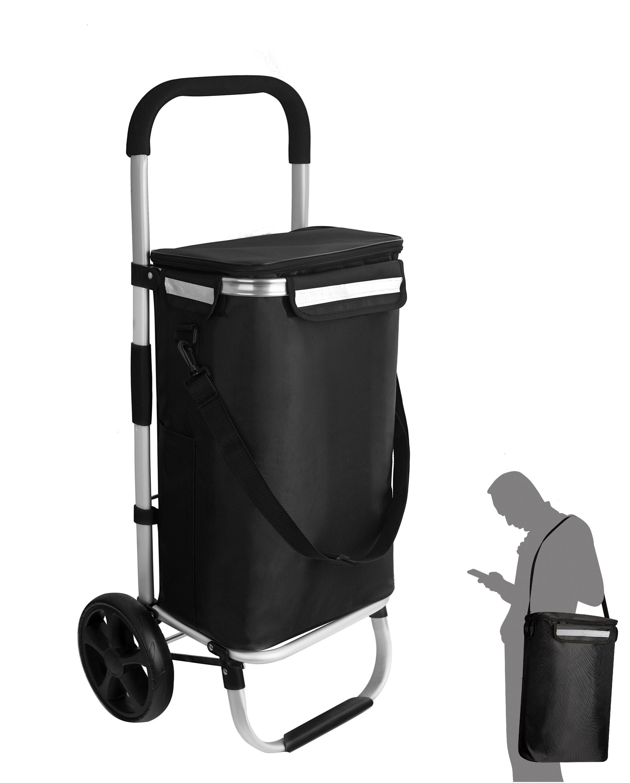 Einkaufstrolley Einkaufsroller große Räder Einkaufswagen Trolley Schwarz Paisley