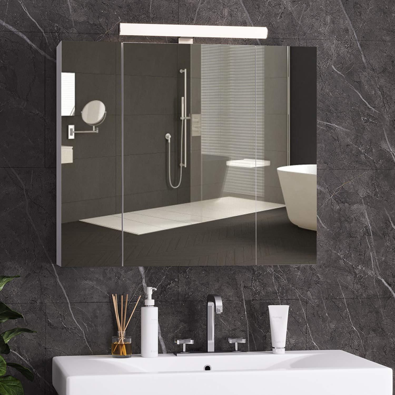 RELEFREE Spiegelschrank Bad mit LED Beleuchtung,Steckdose und lichtschalter  20x20x20cmBxTxH Badezimmer spiegelschrank mit 20 ...