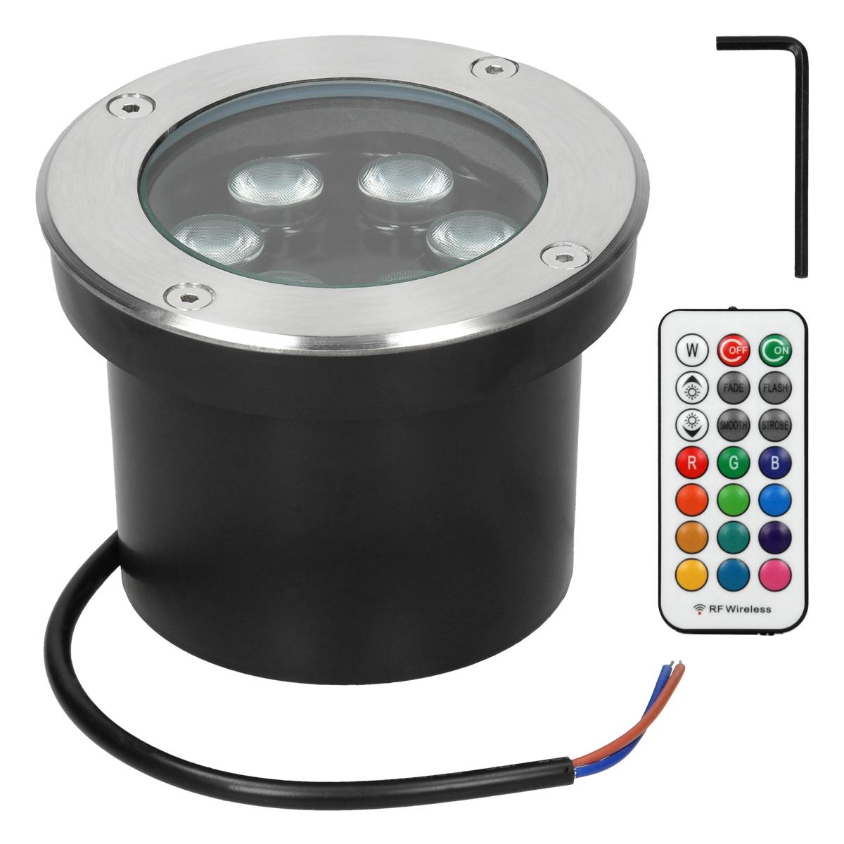 ECD Germany 20er Pack LED Bodeneinbaustrahler RGBW mit Fernbedienung   20W    20V   rund   Edelstahl   IP20   Dimmbar   Aussen Garten Terrasse   ...