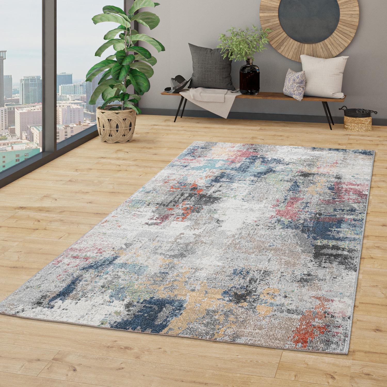 In & Outdoor Teppich Terrasse Küchenteppich Vintage Abstraktes Muster Beige  Blau, Größe8x8 cm