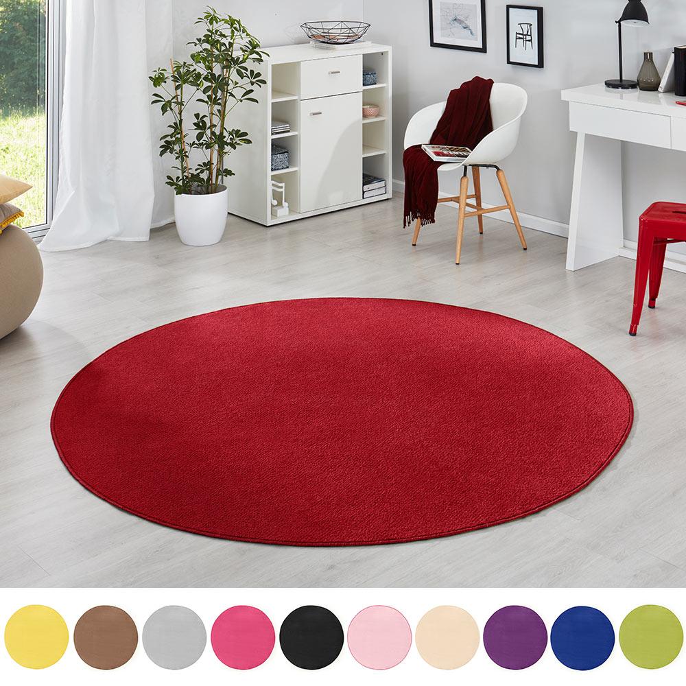 Teppich Kurzflor Grau Kurzflorteppich Kinderteppich Modern rund 100 cm 133 cm