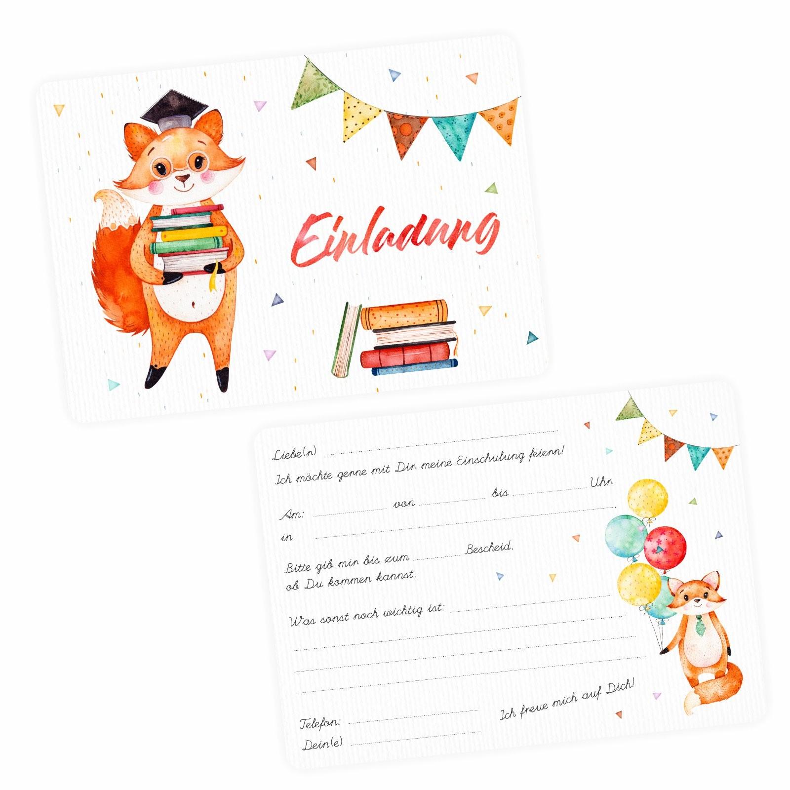 5 Einladungskarten Reh Hirsch Luftballon  inkl Umschag Kindergeburtstag Mädchen