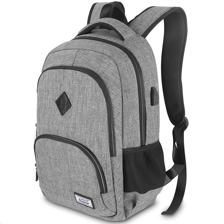 Laptop Backpack Laptop Computer Bag Shoulder Bag Oxford Spill-Proof Multi-Functional Backpack Color : Cotton Black, Size : 18 INCHES