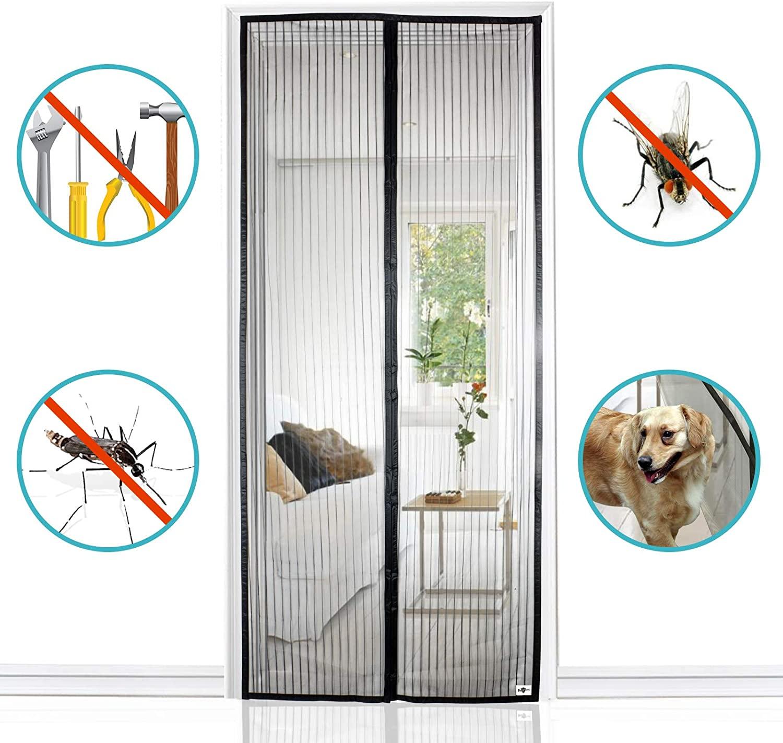 Magnet Fliegengitter T/ür Insektenschutz,Der Magnetvorhang ist Ideal f/ür die Balkont/ür Kellert/ür Und Terrassent/ür, f/ür Balkont/ür Kellert/ür Terrassent/ür Klebmontage ohne Bohren