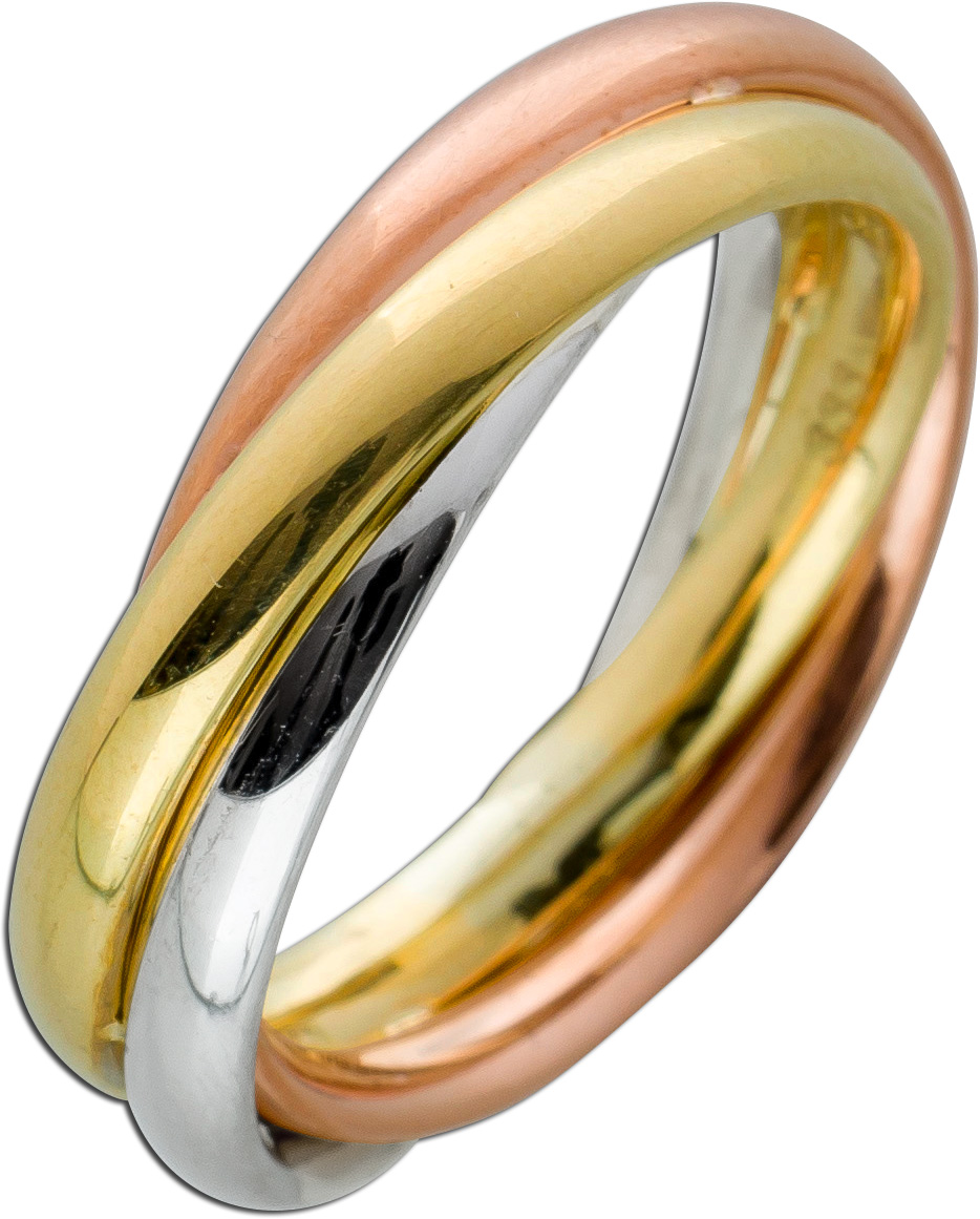 Damen Ring Engelsflügel Flügel 333 Gold Gelbgold bicolor 9 Zirkonia Goldring