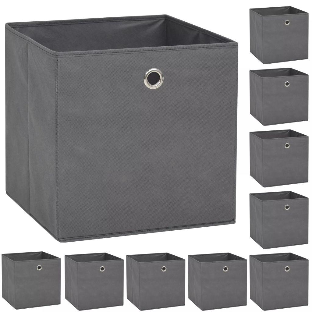 vidaXL 10x Aufbewahrungsbox Vliesstoff Weiß Spielkiste Regalkorb Faltkiste