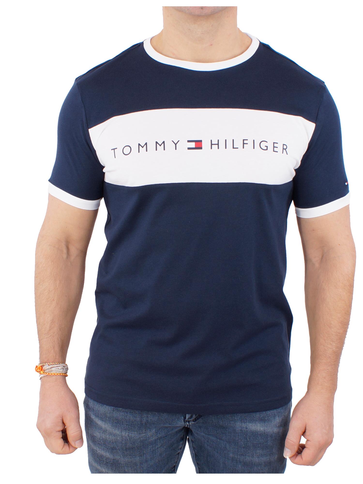 Tommy Jeans Herren Streifen-T-Shirt Weiß
