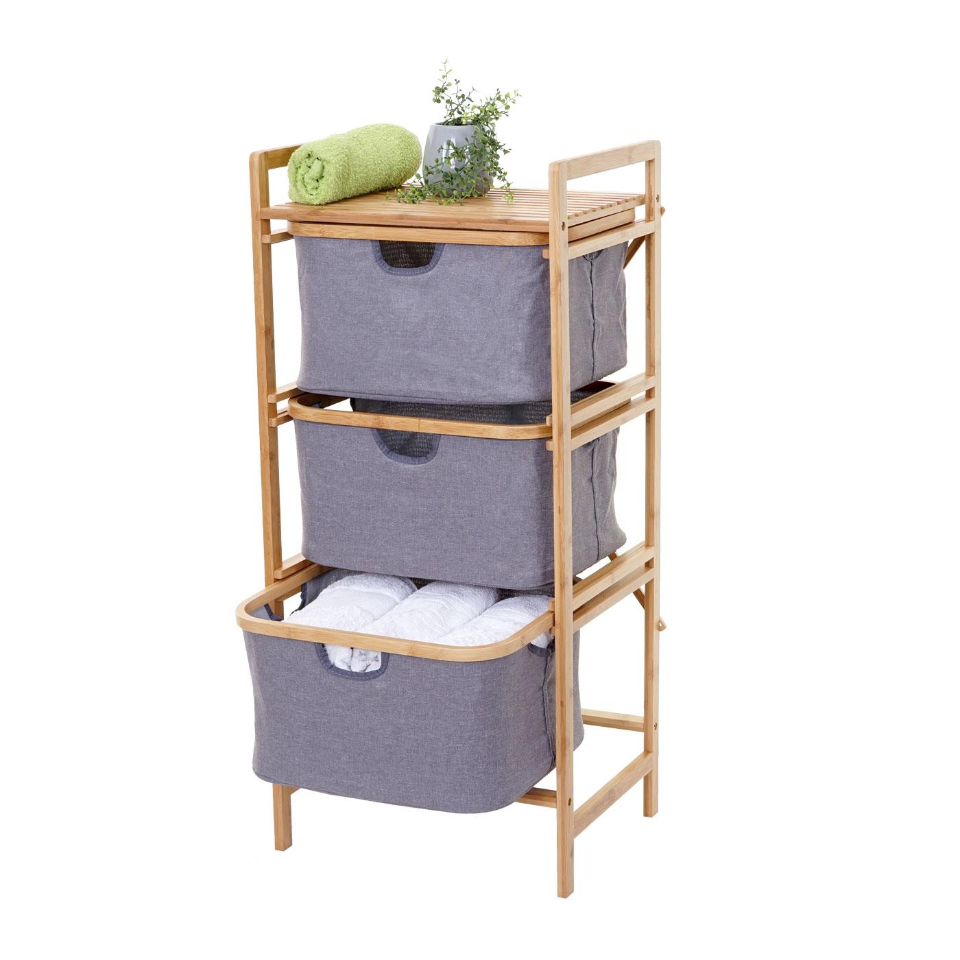 Wäschesammler HWC B20, Regal Wäschesortierer Wäschekorb Badregal  Aufbewahrung, Bambus 20x20x20cm 20l