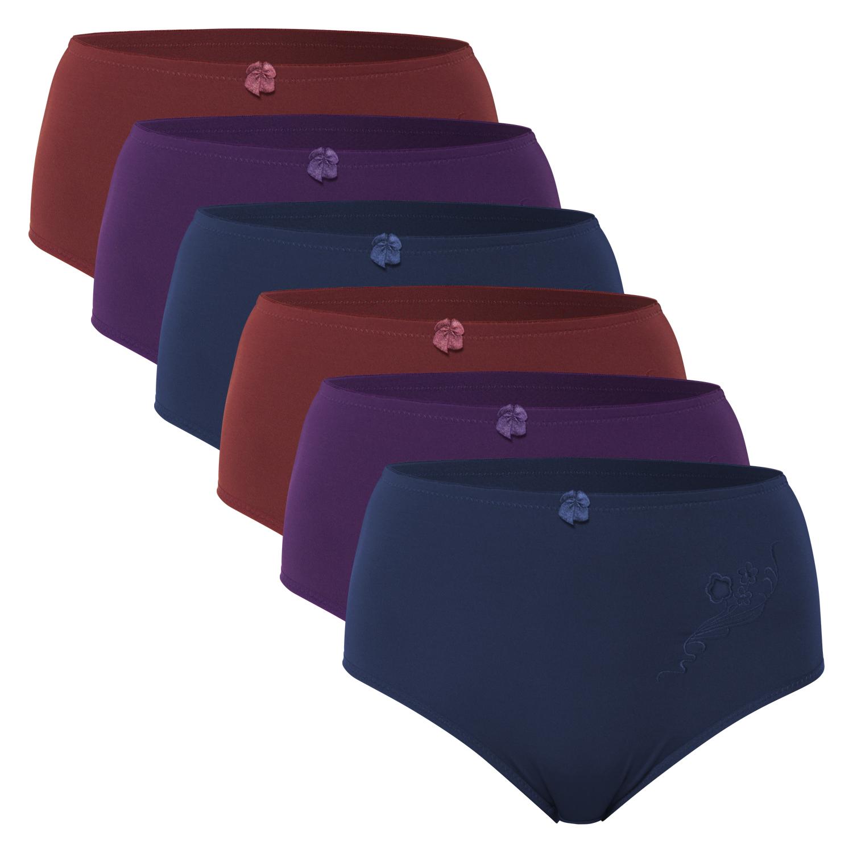 leichter Shape-Effekt 2 oder 4 Stück modische Microfaser Taillen-Slips uni schwarz grau weiss mit Streublümchen und kleiner Schleife Grössen 40//42 bis 52//54