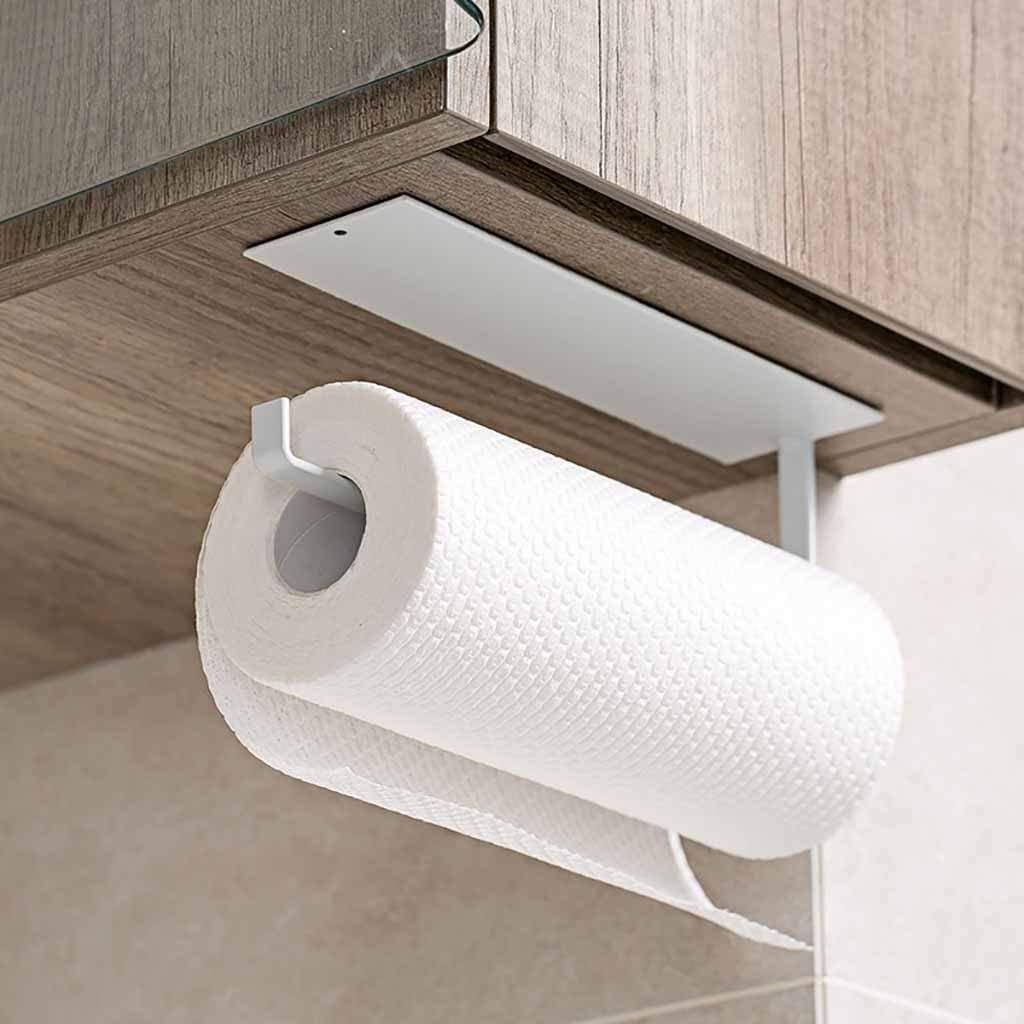 simpletome K/üchenrollenhalter Eine Hand Unter dem Kabinett Selbstklebend Papierrollenhalter Frischhaltefolie Halter schwarz