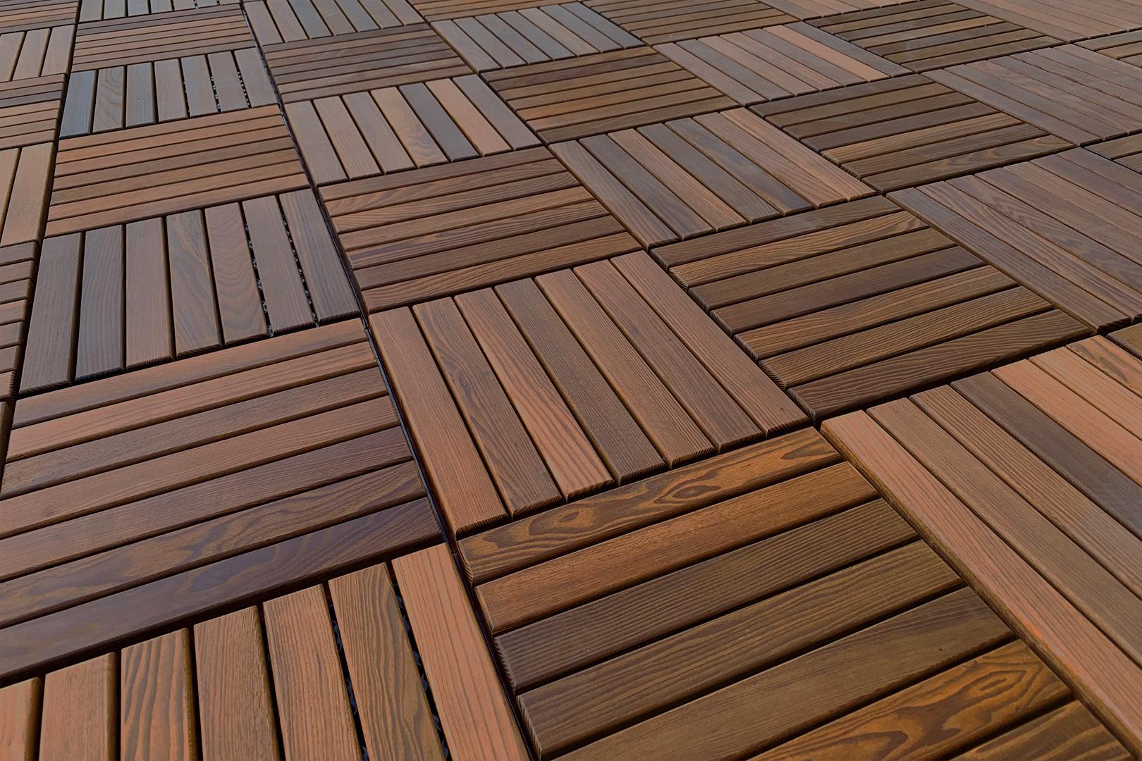 Holzfliesen aus Thermoesche mit Klicksystem, Balkon  & Terrassenfliesen  Lieferung frei Haus, Thermoesche Fliesen20 Stk / 20 Paket   20.20 qm