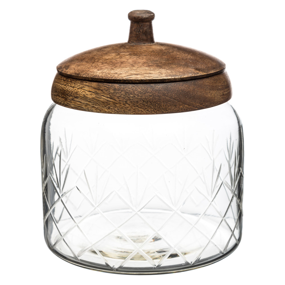 Glas mit Holzdeckel, edle Bonbondose, 12 x 12 cm, SECRET de GOURMET