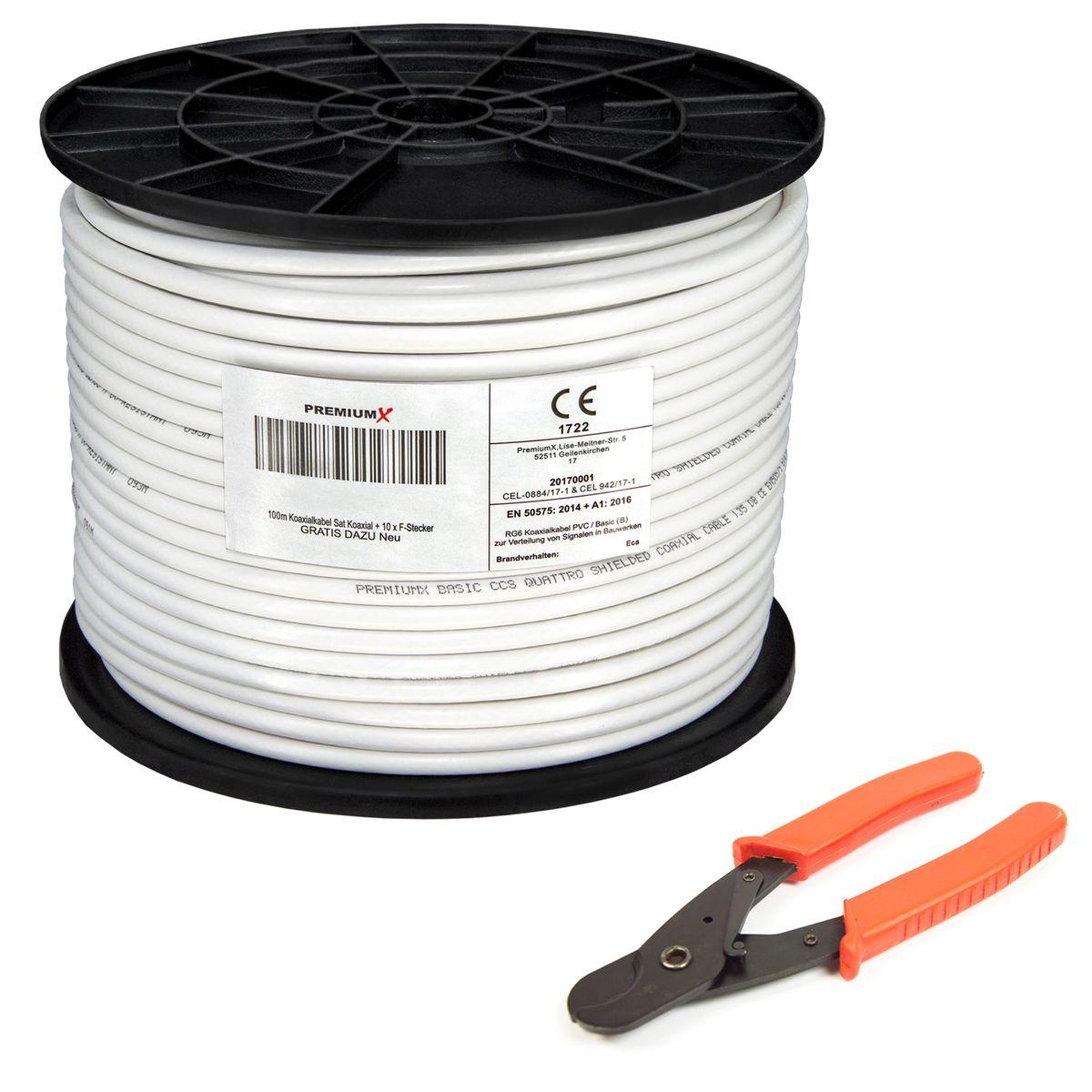 100m SAT Kabel Antennenkabel 4 fach 135dB DIGITAL Koax Koaxialkabel 135 FULL HDT