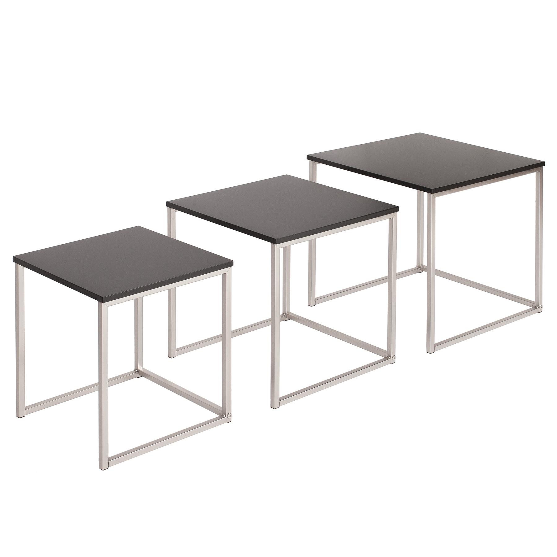 Design Beistelltisch 12er Set ELEMENTS matt schwarz Edelstahl gebürstet  Couchtisch Satztische Tischset Sofatisch