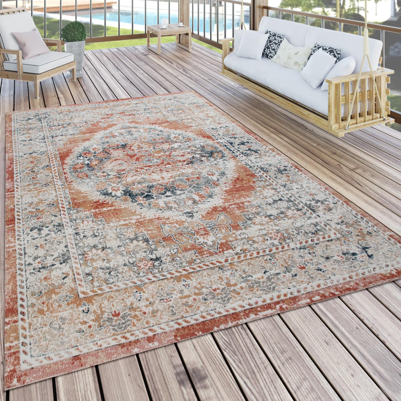 Outdoor Teppich Küchenteppich Balkon Terrasse Vintage Oriental Muster Rot  Beige, Grösse8x8 cm
