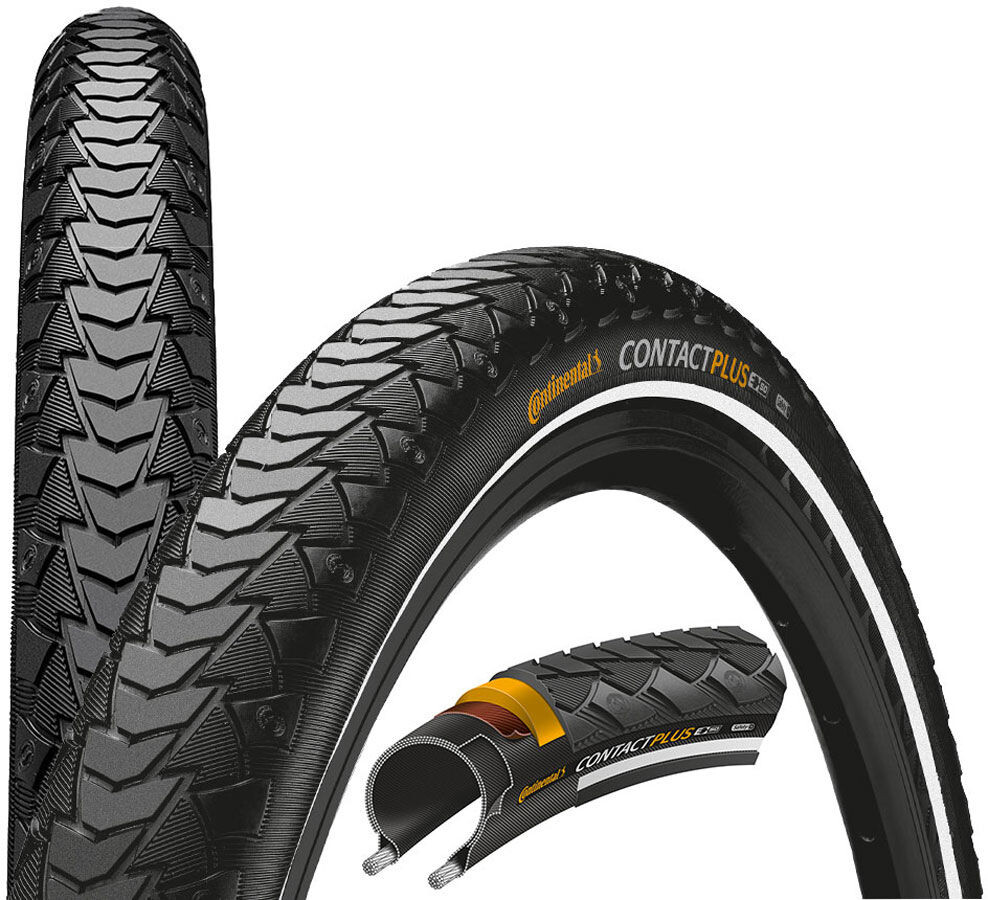 2x Continental Reifen Contact Plus E-50 42-622 28 Zoll Draht Reflex schwarz