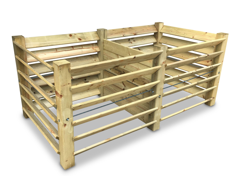 1300 L ECO Doppel-Komposter Brettkomposter aus Holz mit Deckel 188x100x80 cm ca