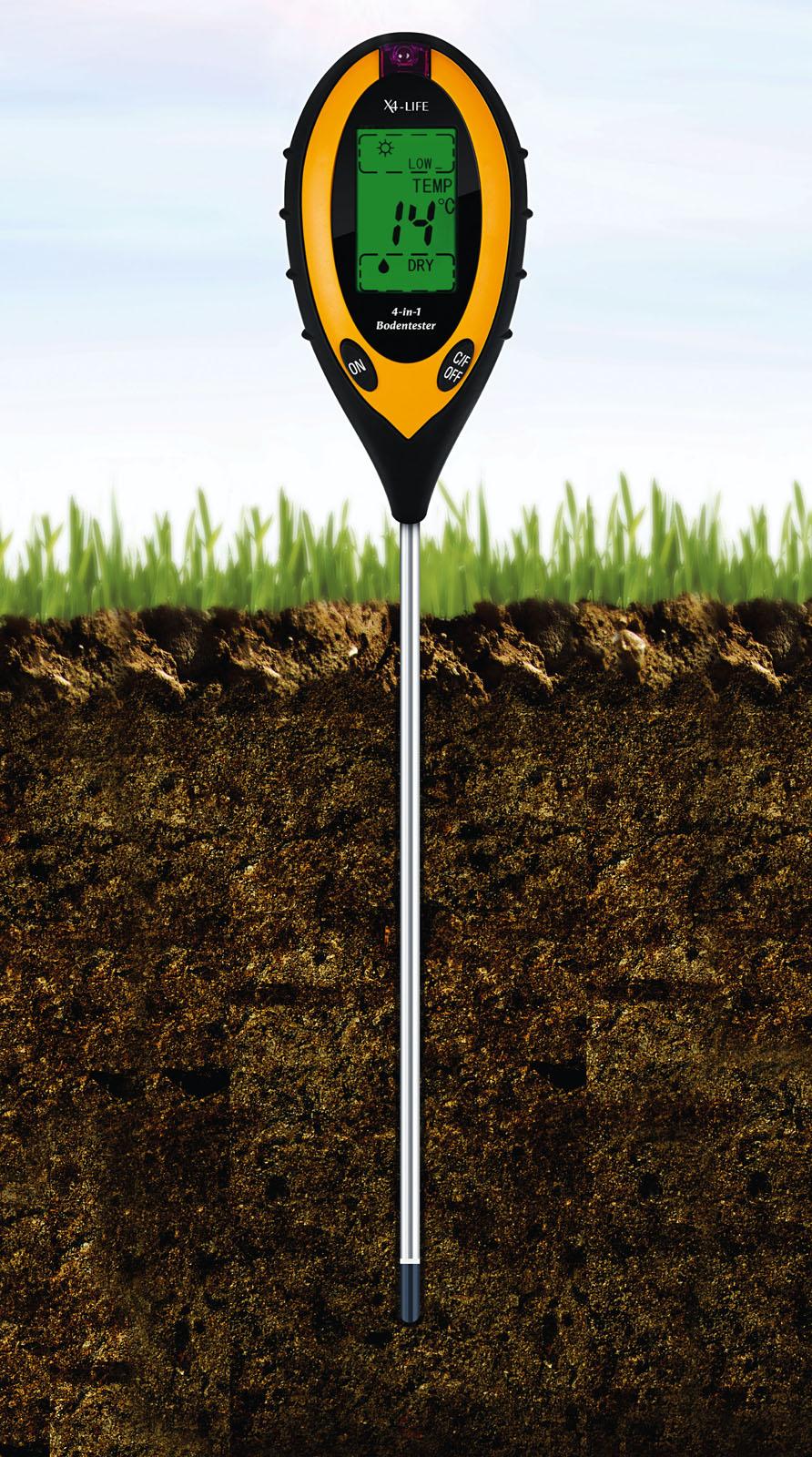 Betrothales Bodentester Digitales Bodenmessger/ät 4 In 1 Erde Feuchtigkeit Meter Chic Bodentester Ph Wert Boden Temperatur Und Sonnenlicht Intensit/ät Tester F/ür Den Garten Landwirtschaft Indoor Outdoor