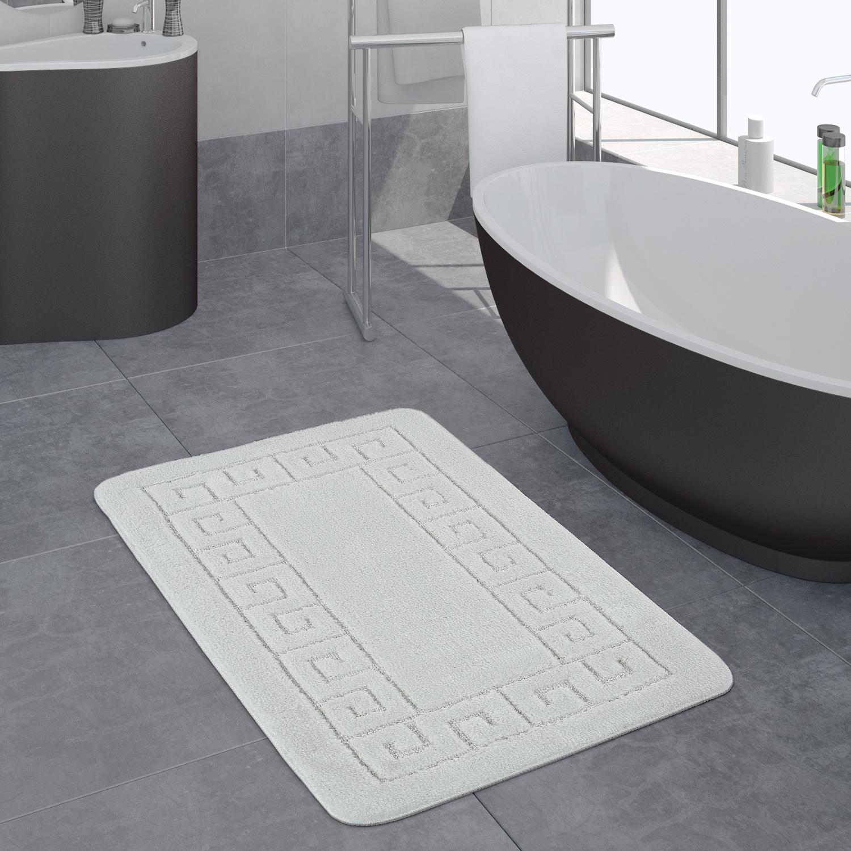 Moderner Badezimmer Teppich Bordüre Badvorleger Rutschfest Badematte In  Weiß, Grösse20x20 cm