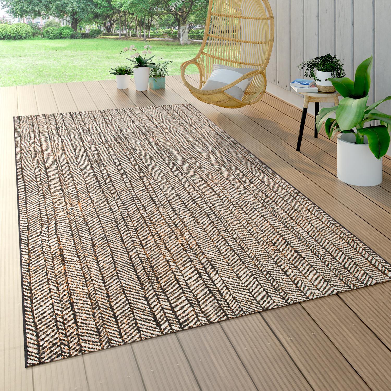 Outdoor Teppich Für Terrasse Und Balkon, Geometrisches Muster, Modern In  Braun, Grösse8x8 cm