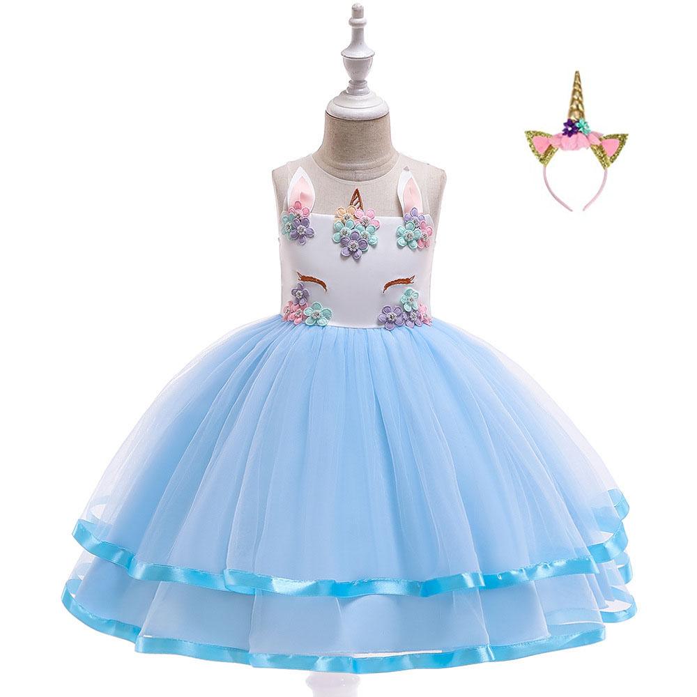 Karneval Mädchen Kinder Einhorn Fasching Kostüm Prinzessin Tutu Kleid Ballkleid