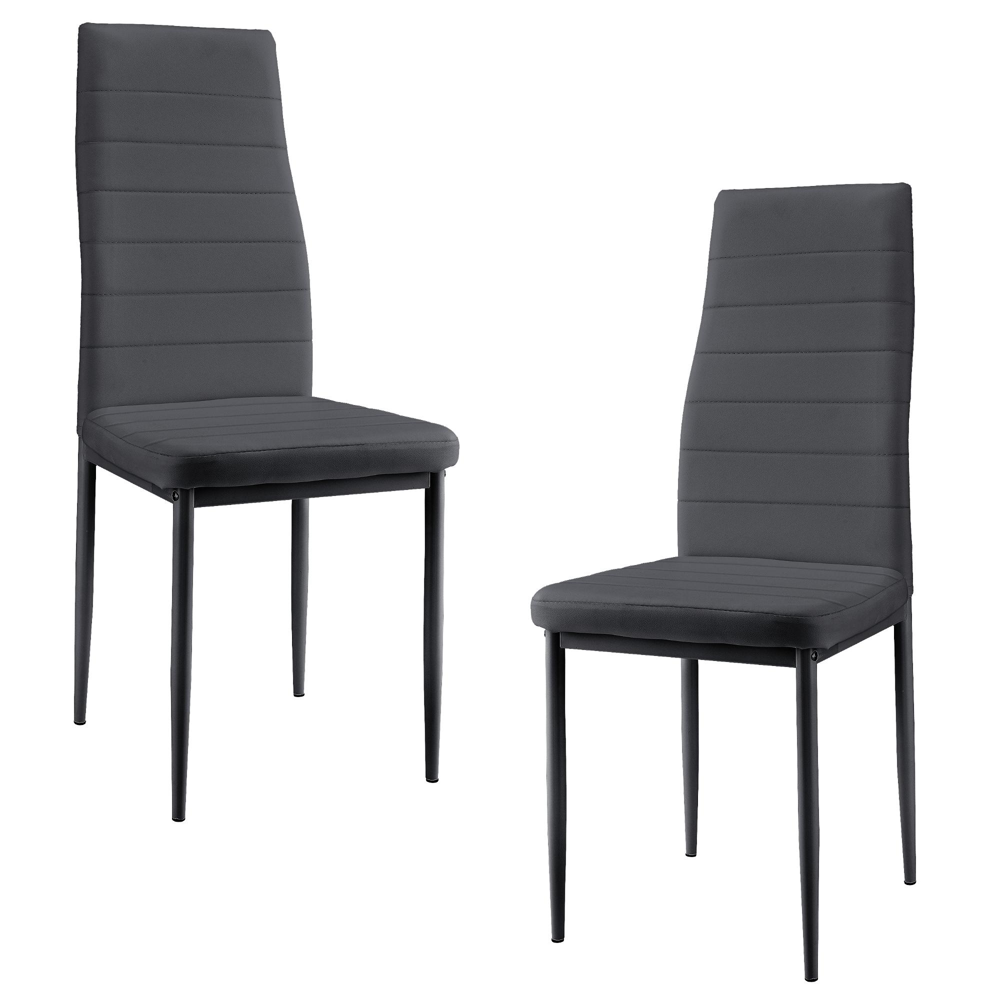 2er-Set Stühle weiß Hochlehner Esszimmer Kunst-Leder Polster Stuhl en.casa