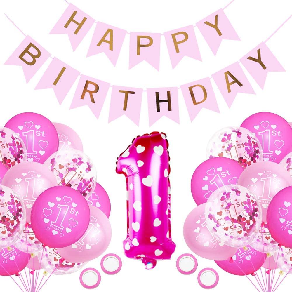 Geburtstagsdeko 8 Jahr Mädchen, Deko 8. Geburtstag, Luftballon pink  Konfetti zum 8. Geburtstag Party Kindergeburtstag Happy Birthday Dekoration  Erster ...