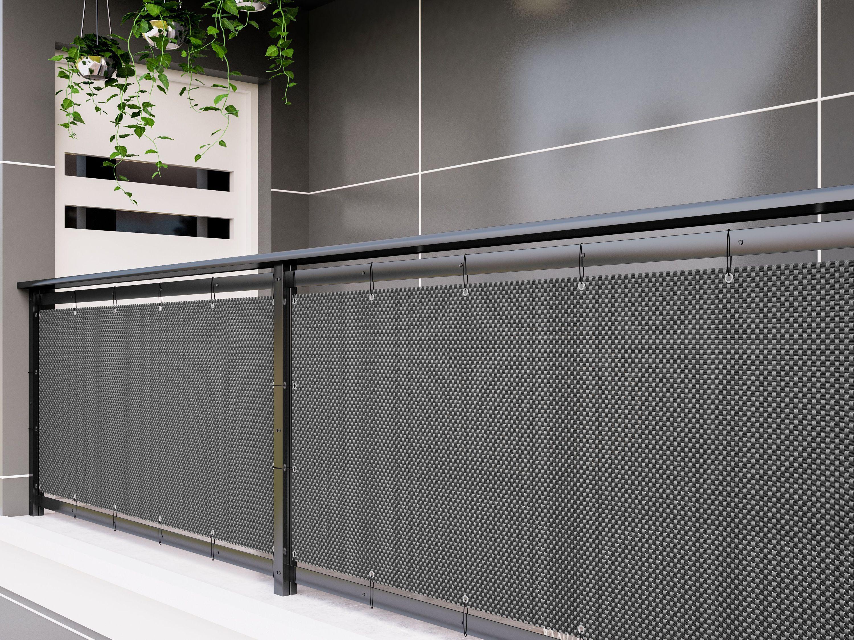 Polyrattan PVC Sichtschutzmatte 8x8 Balkon Sichtschutz Zaun Windschutz  grau
