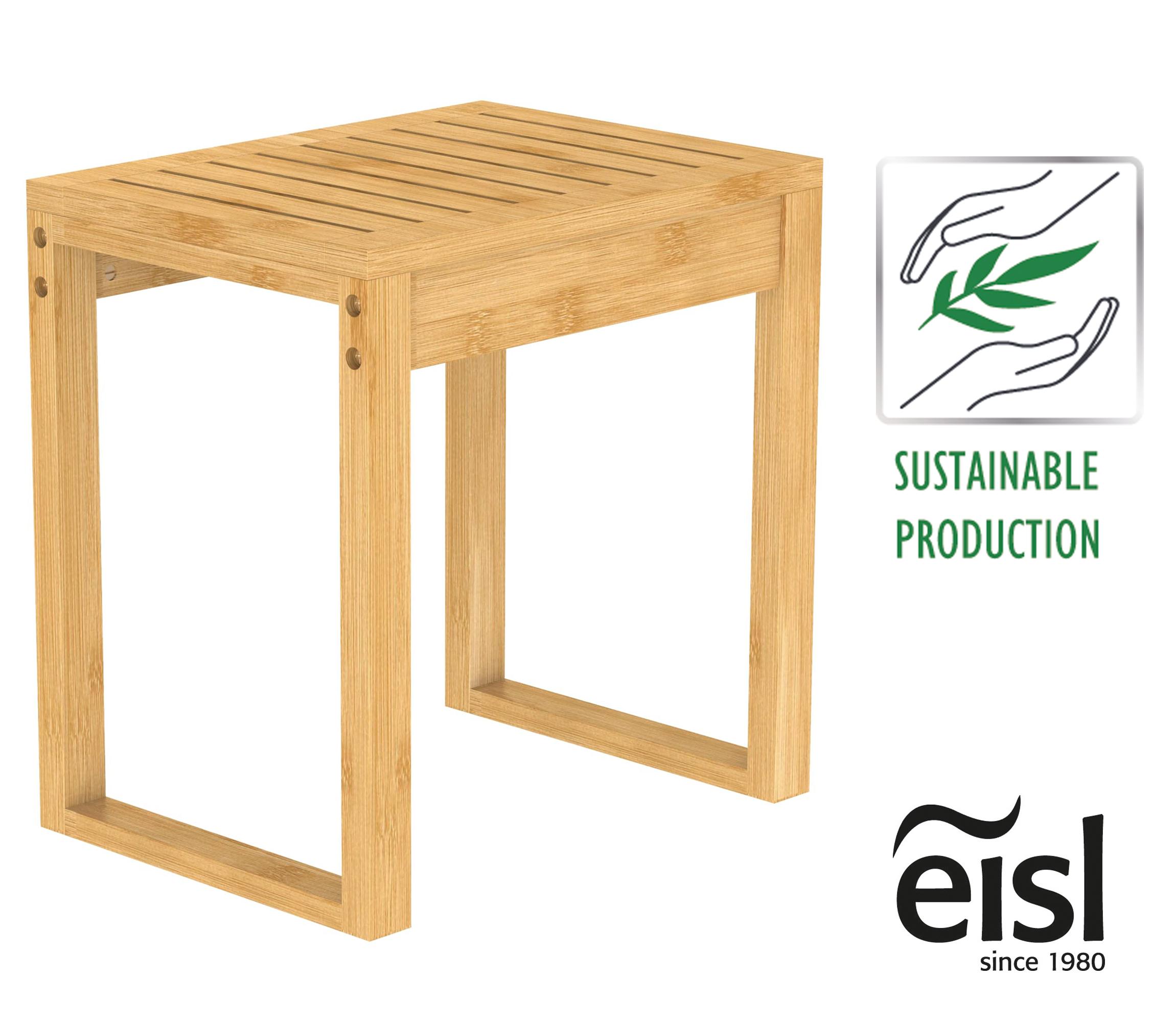 EISL Badezimmer Hocker Bambus, kleiner Hocker, nachhaltige Badmöbel Bambus,  Pflanzenhocker Holz