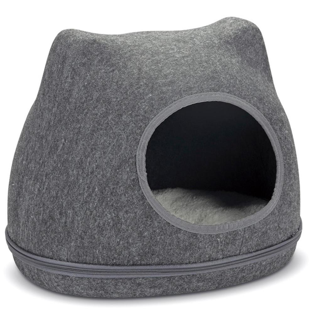 Katzenhöhle Bett Höhle Schlafplatz Korb Körbchen Kissen Versteck Yupik Grau