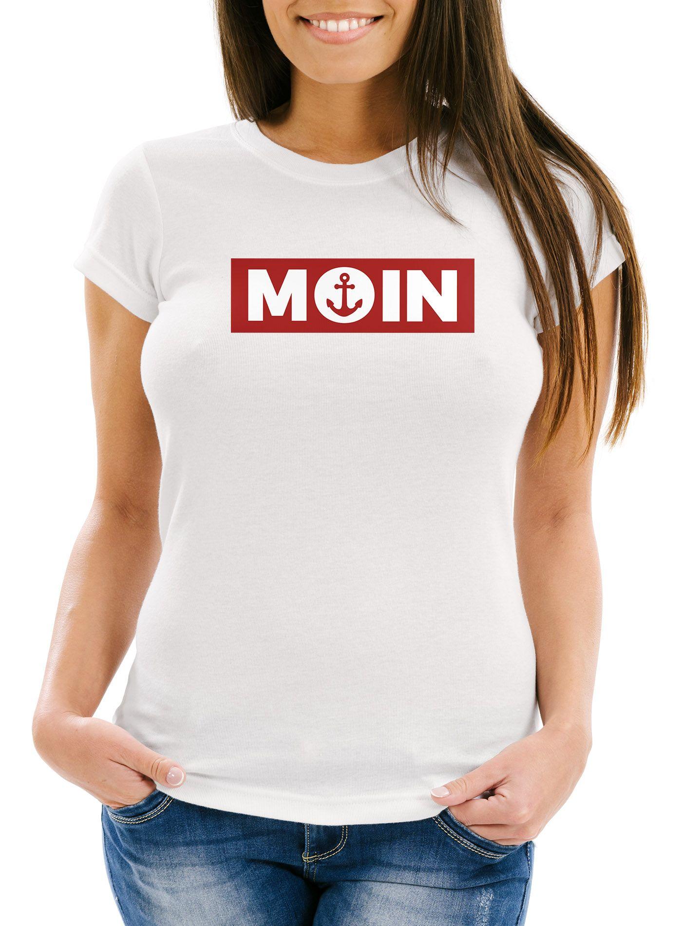 Damen Camo-Shirt Moin norddeutsch Morgen Anker Camouflage T-Shirt Tarnmuster